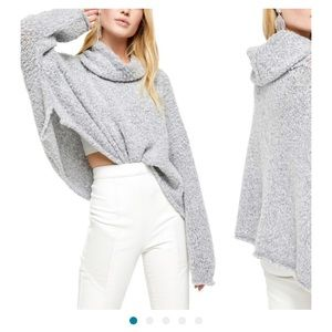 NWT Women Gray Free People BFF Cowl Neck Sweater L